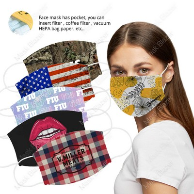 Custom Pattern Face Mask with Filter Pocket